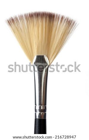 a single make up brush on white background - stock photo