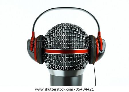 a single microphone with headphones on white, a speak and listen concept - stock photo