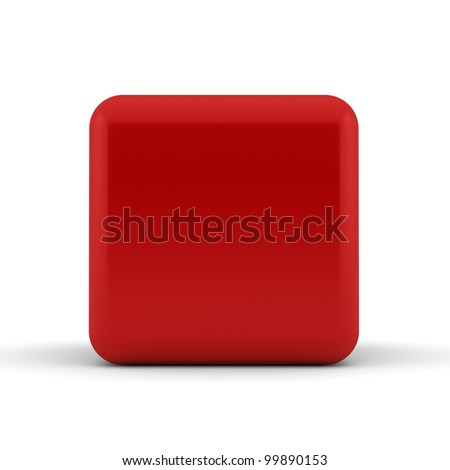A single red rounded 3D cube isolated on white - abstract background - stock photo
