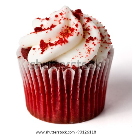 A Single Red Velvet Cupcake on White (With Shadow) - stock photo