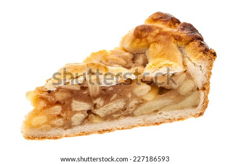 A single slice of apple pie isolated on white background - stock photo