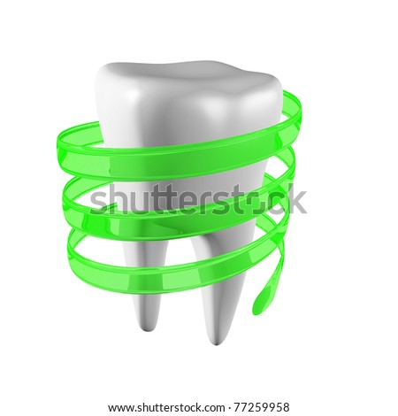 a single tooth on white - stock photo