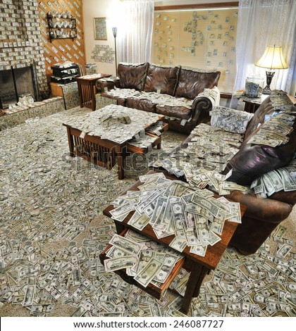 A sitting room where all the furniture and floor surfaces are covered with bank notes or cash, and the walls are decorated with additional notes - stock photo