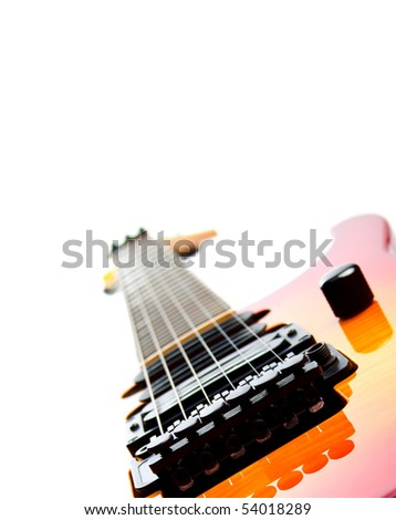 a six string electric guitar isolated on a white background - stock photo