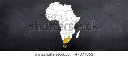 A sketch of The African continent with South Africa highlighted over a world cup football - stock photo