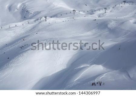 A ski valley in Tignes - stock photo