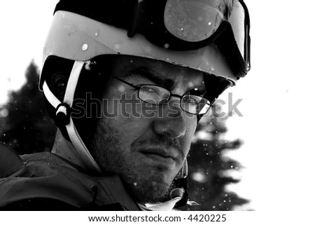 a skier gives an intense look - stock photo