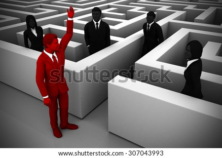 A skilled leader guides the team out of a maze. An executive leader helps the team find their way out of a complex maze. - stock photo