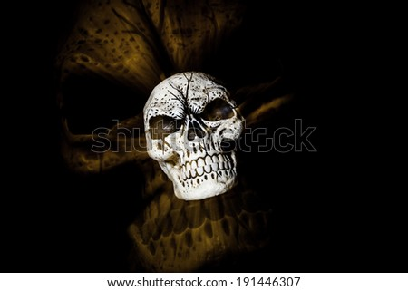 A skull is isolated on a black background with a larger skull ghost image behind it - orange color tone. A racking the lens technique was used to produce this image. - stock photo