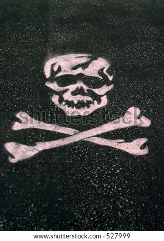 A skull stenciled on asphalt. - stock photo