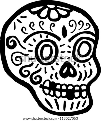 A skull with teeth missing represented in black and white - stock photo