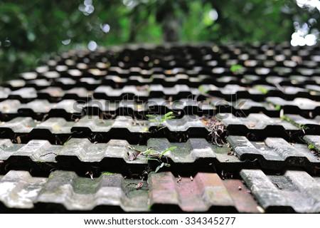 A slate roof - stock photo