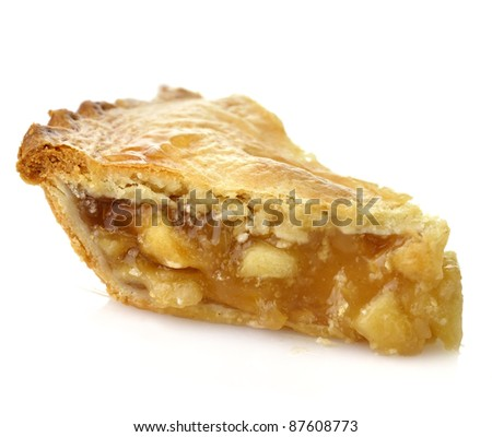 A Slice Of Apple Pie On White Background ,Close Up - stock photo