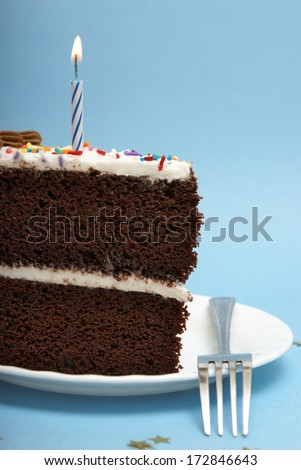 A slice of choclate cake to celebrate the occassion. - stock photo