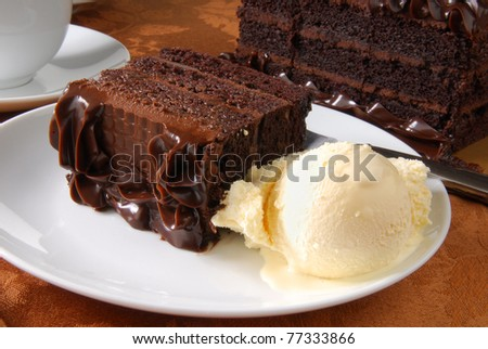 A slice of chocolate cake and vanilla ice cream - stock photo