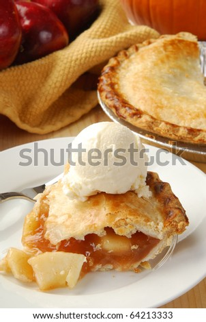 A slice of fresh apple pie - stock photo