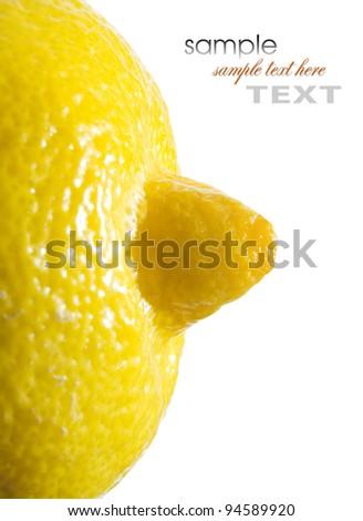 A slice of lemon macro isolated on white background - stock photo