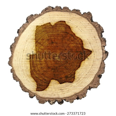 A slice of oak and the shape of Botswana branded onto .(series) - stock photo