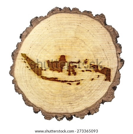 A slice of oak and the shape of Indonesia branded onto .(series) - stock photo