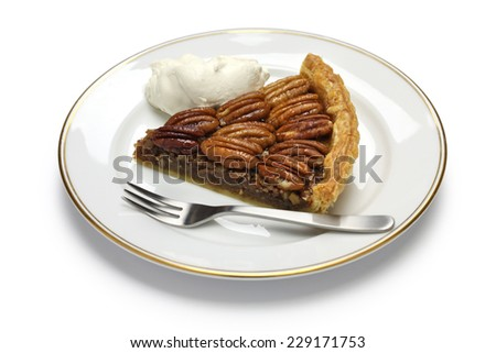 a slice of pecan pie isolated on white background - stock photo