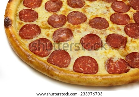 a slice of pizza on the white background - stock photo