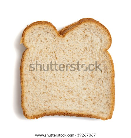A slice of wheat bread on a white background with copy space - stock photo