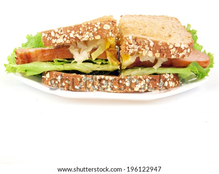 a sliced turkey sandwich with lettuce, tomato, onion, and mustard on a white background. - stock photo