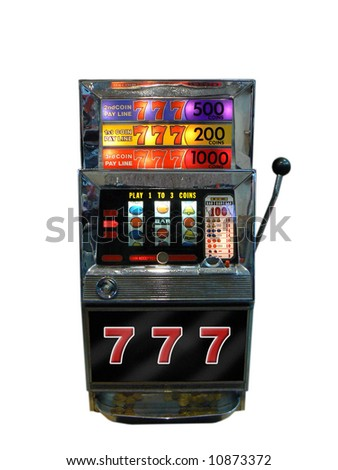 A slot machine, one arm bandit from old Las Vegas - stock photo
