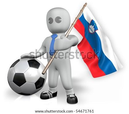 A Slovenia football fan with a ball and a flag - stock photo