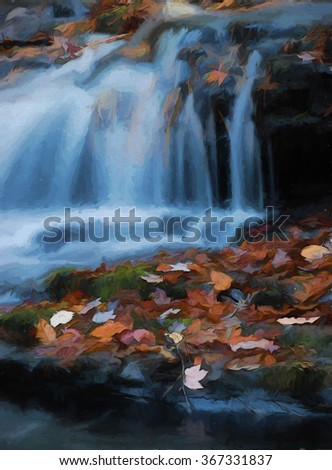 A small beautiful cascade waterfall in autumn - located in the Poconos of Pennsylvania, transformed into a colorful painting - stock photo