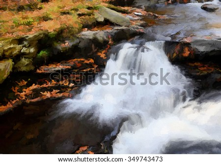A small beautiful cascade waterfall - located in the Poconos of Pennsylvania, transformed into a colorful painting - stock photo