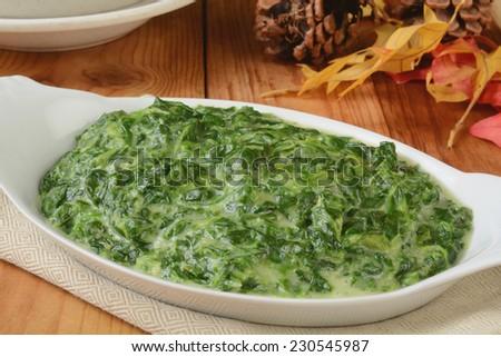 A small casserole dish of spinach in cream sauce - stock photo