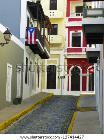 A small colorful street in old San Juan Purto Rico - stock photo