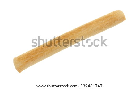 A small crunchy breadstick isolated on a white background. - stock photo