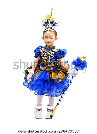 A small cute asian girl as drum major over white background. - stock photo