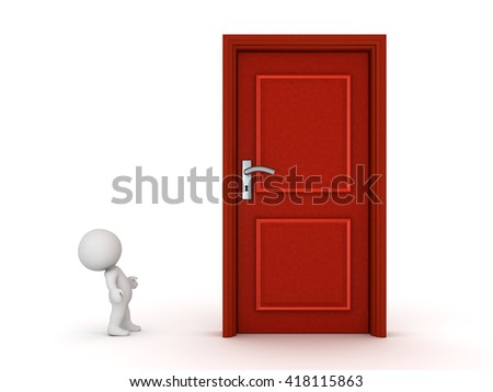 A small 3D character looking up at a large wooden door. Isolated on white background. - stock photo