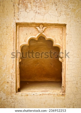 A small empty decorated alcove in a wall in Mehrangarh Fort, Jodhpur, Rajasthan, India - stock photo