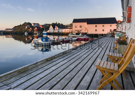 A small fishing port in the Hamnoy - Reine, Lofoten Islands, Norway - stock photo