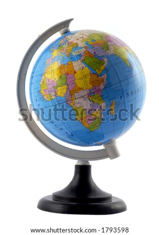 A Small Globe Of The World On A Stand - stock photo