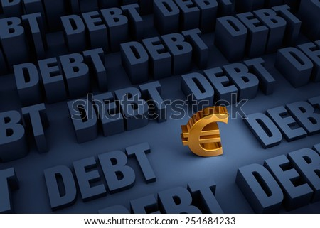 """A small, gold Euro sign stands in a dark background of gray """"DEBT"""" rising up around it. - stock photo"""