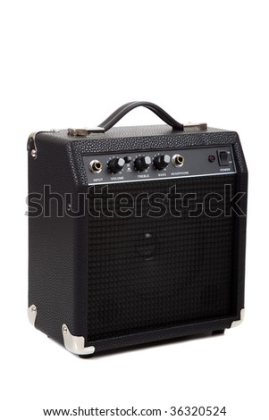 A small guitar amplifier on white background - stock photo