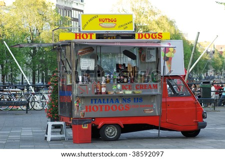 A small hot dog car in Amsterdam. - stock photo