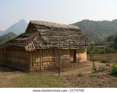 A Small House of the H'mong in Vietnam - stock photo