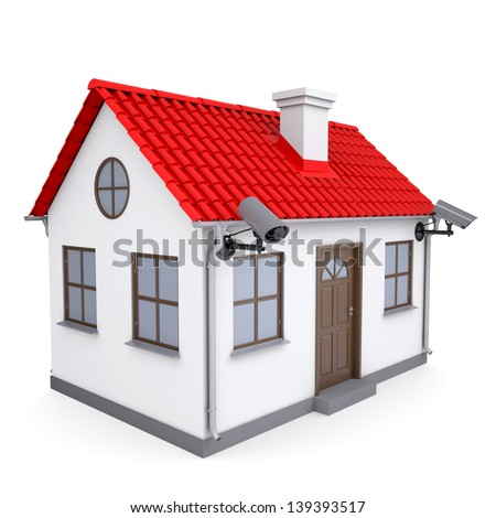 A small house with security cameras. Isolated render on a white background - stock photo