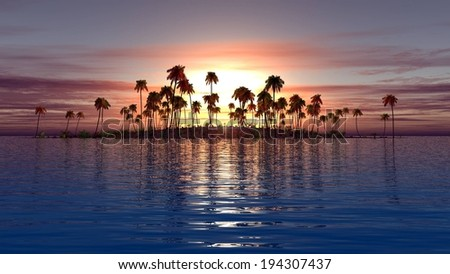 A small island filled with tall palm trees. - stock photo