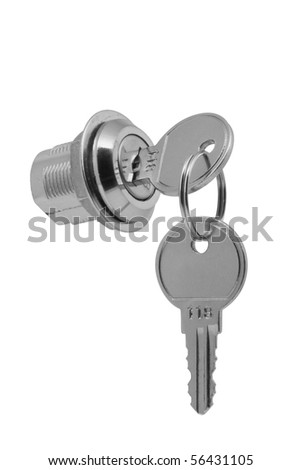 a small metal lock with two keys on a white background - stock photo