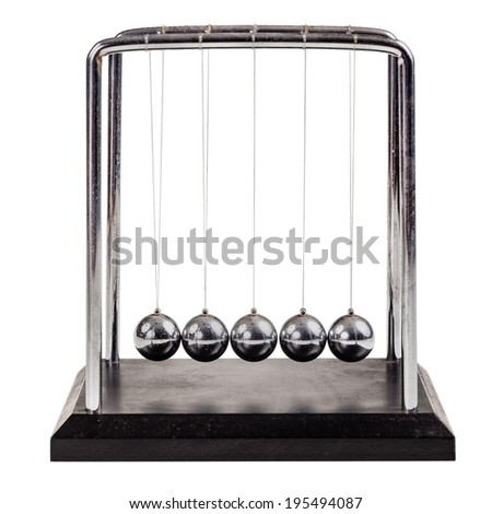 a small Newton's cradle isolated over a white background - stock photo