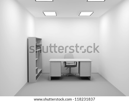 A small office with a chair and table - stock photo