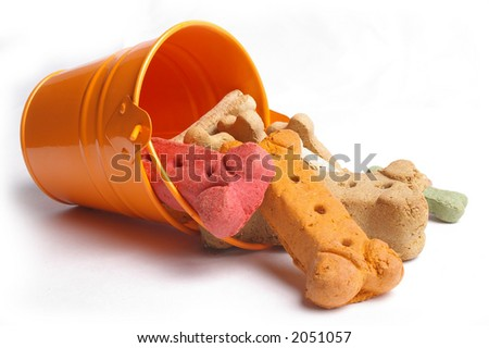 A small orange pail spills over with multi-flavored dog biscuits. - stock photo