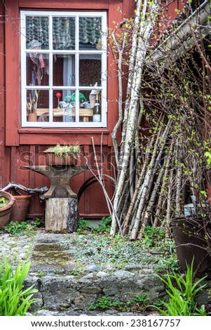 A small part of a rustic country home. - stock photo